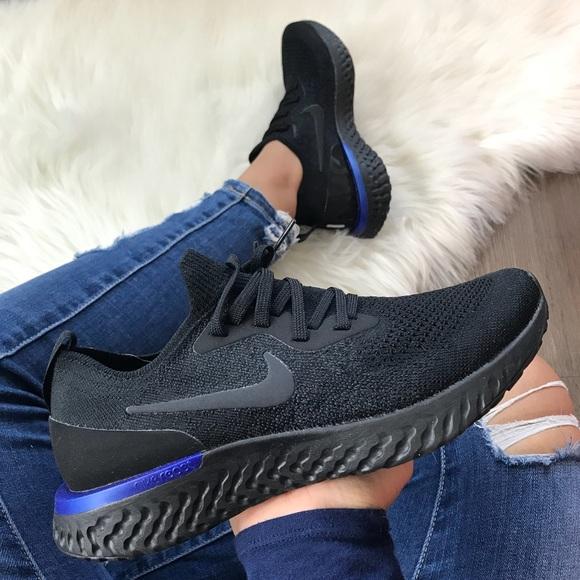 2f59a2269287c7 New Nike Epic React Flyknit Black + Blue